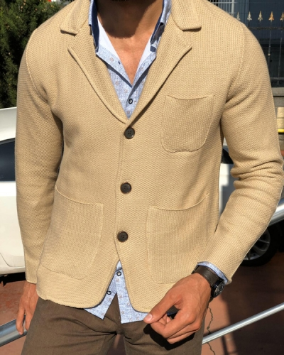 Beige Slim Fit Cardigan by Gentwith.com with Free Shipping