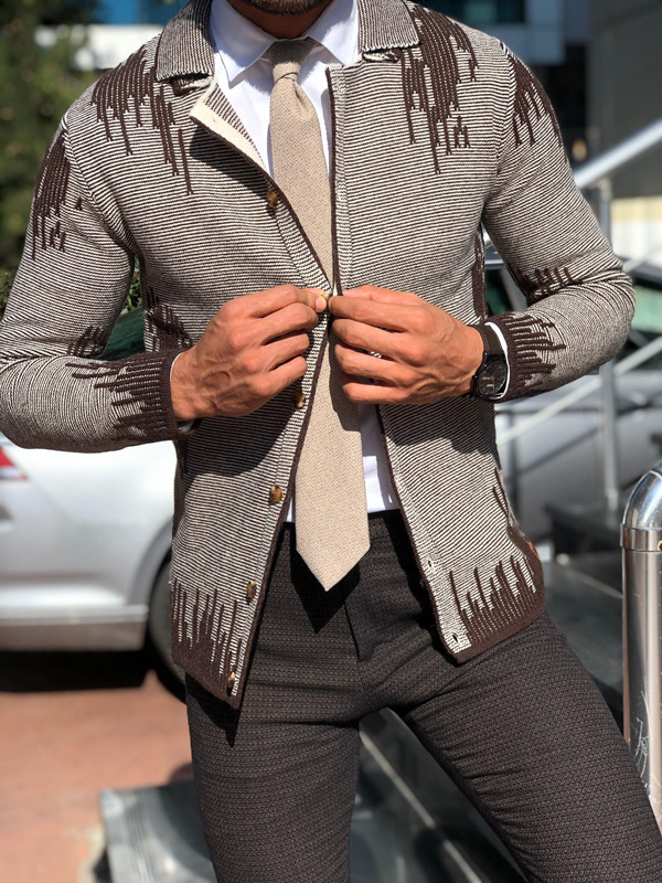 Brown Slim Fit Cardigan by Gentwith.com with Free Shipping