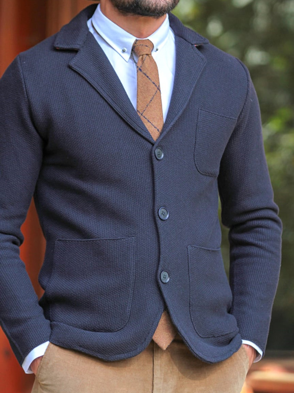 Navy Blue Cardigan by Gentwith.com with Free Shipping