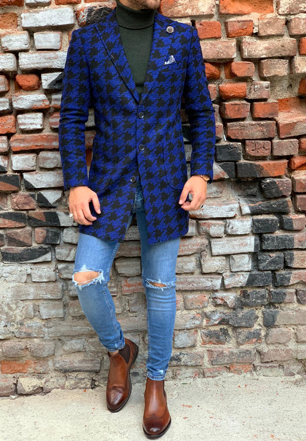 Blue Slim Fit Wool Long Coat by Gentwith.com with Free Shipping