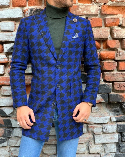 Blue Slim Fit Wool Coat by Gentwith.com with Free Shipping