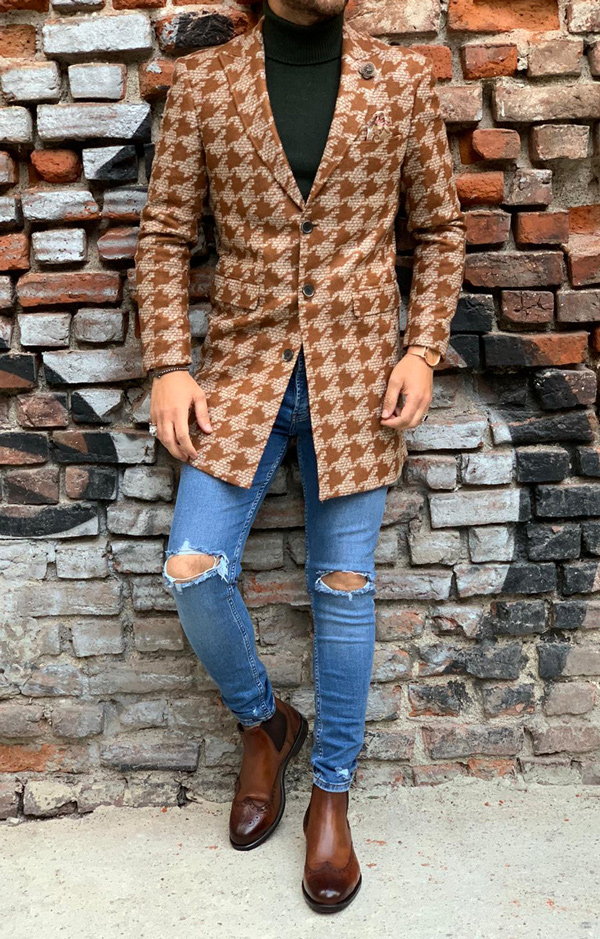 Brown Slim Fit Wool Long Coat by Gentwith.com with Free Shipping