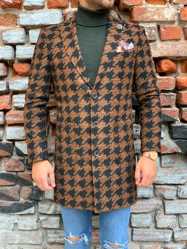 Coffee Slim Fit Wool Coat by Gentwith.com with Free Shipping