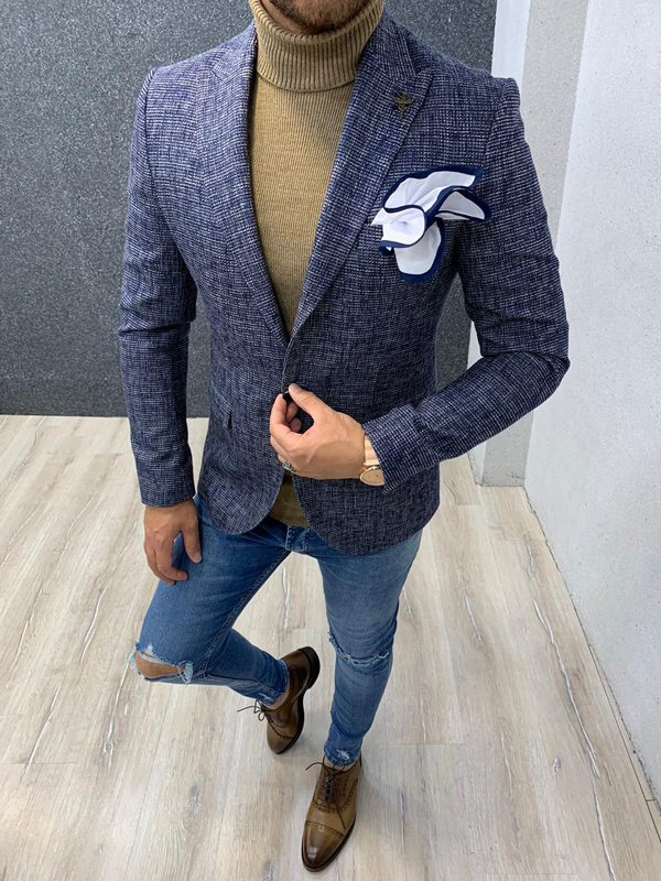 Navy Blue Men Blazer by Gentwith.com with Free Shipping