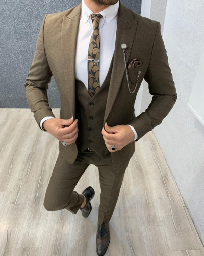 Brown Slim Fit Wool Suit by Gentwith.com with Free Shipping