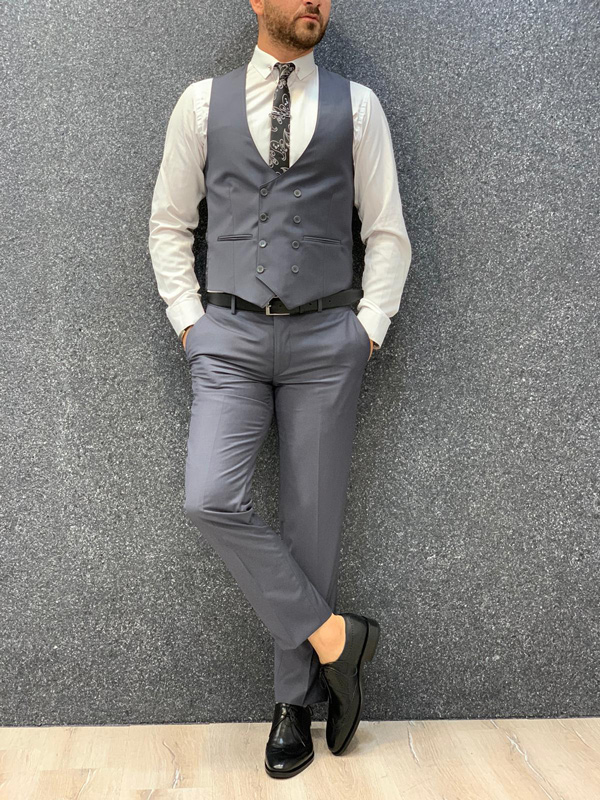 Gray Wool Suit by Gentwith.com with Free Shipping