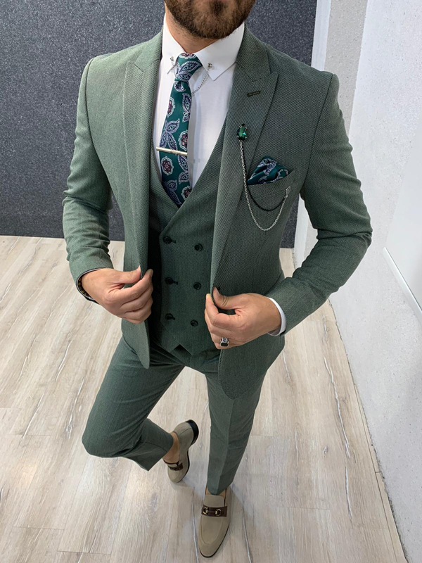 Green Slim Fit Wool Suit by Gentwith.com with Free Shipping