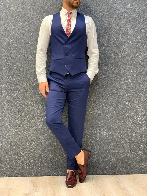 Indigo Slim Fit Wool Suit by Gentwith.com with Free Shipping