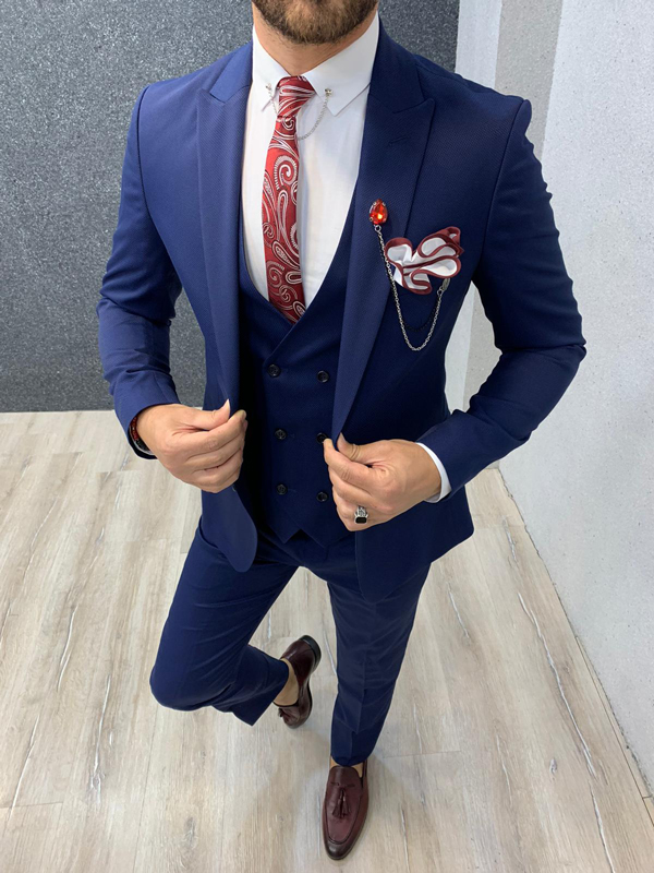 Indigo Wool Suit by Gentwith.com with Free Shipping