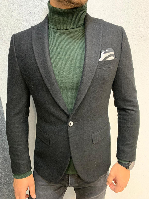 Black Slim Fit Blazer by Gentwith.com with Free Shipping