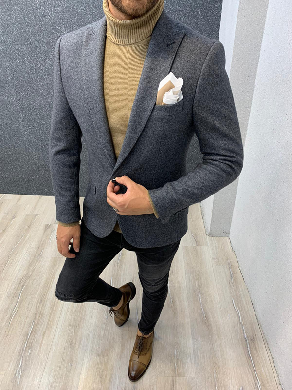 Gray Slim Fit Blazer by Gentwith.com with Free Shipping