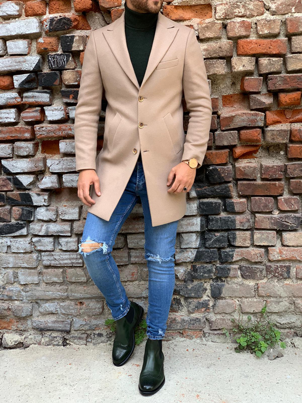 Beige Slim Fit Wool Long Coat by Gentwith.com with Free Shipping