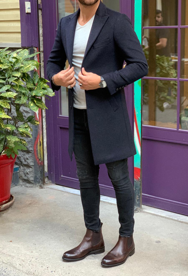 Navy Blue Slim Fit Wool Long Coat by Gentwith.com with Free Shipping