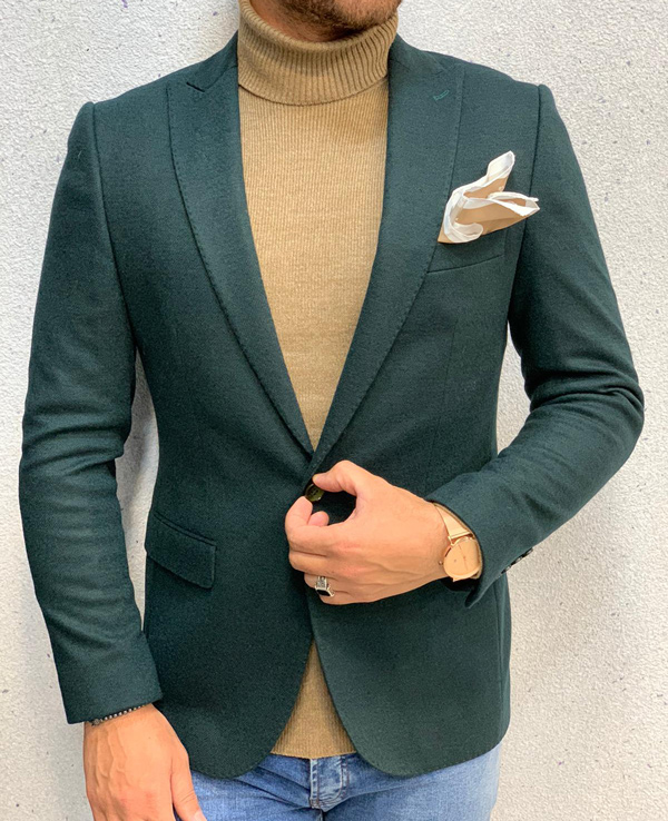 Green Men Blazer by Gentwith.com with Free Shipping