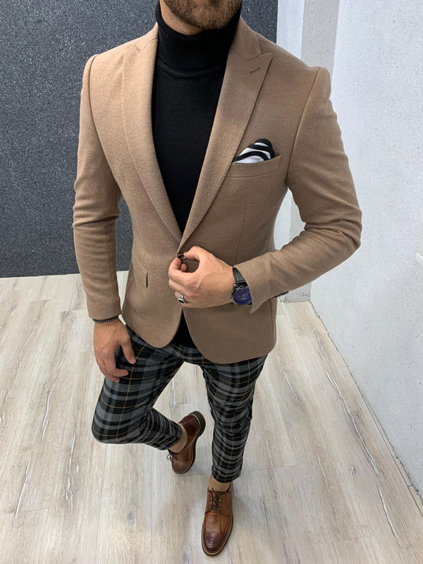 Brown Blazer by Gentwith.com with Free Shipping