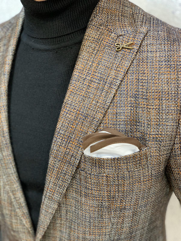 Coffee Slim Fit Blazer by Gentwith.com with Free Shipping