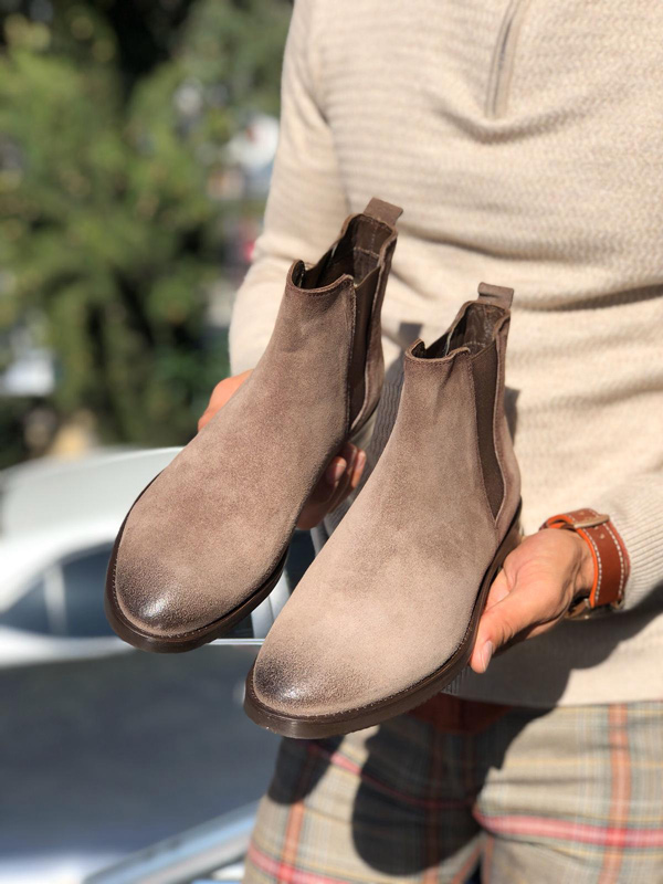 Beige Suede Chelsea Boots by Gentwith.com with Free Shipping