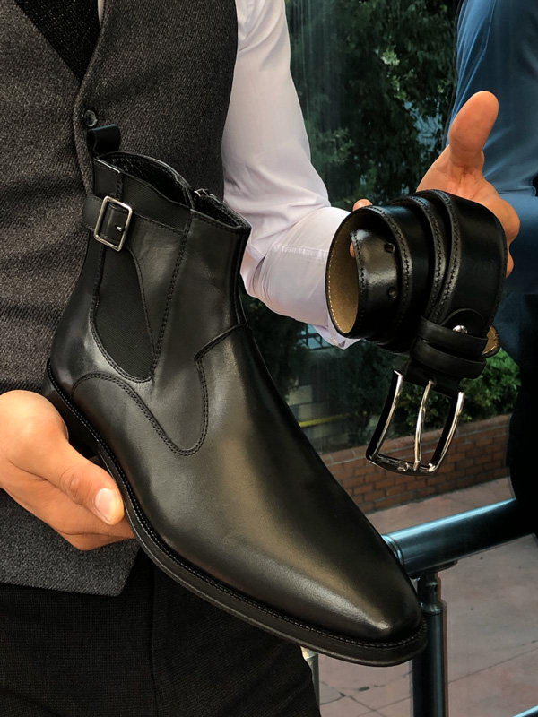 Black Buckle Detail Chelsea Boots by Gentwith.com with Free Shipping
