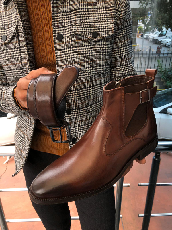Brown Buckle Detail Chelsea Boots by Gentwith.com with Free Shipping