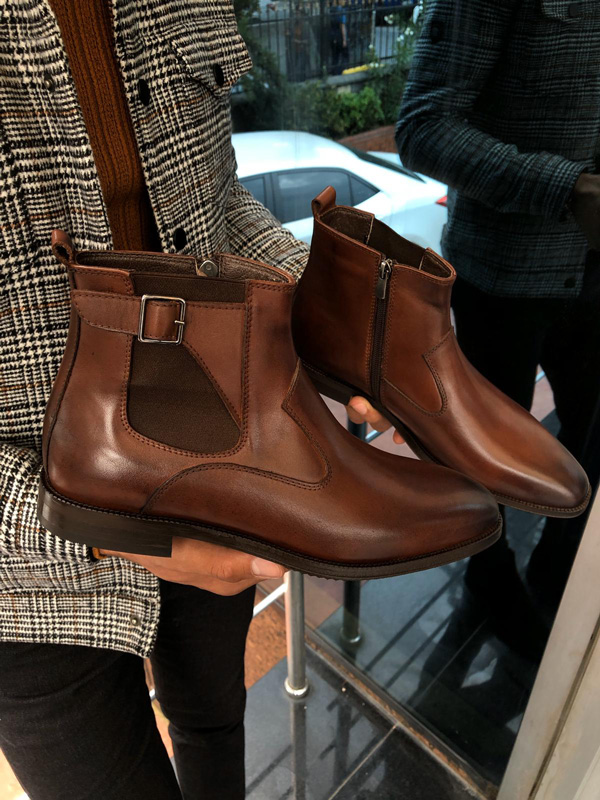 Brown Chelsea Boots by Gentwith.com with Free Shipping