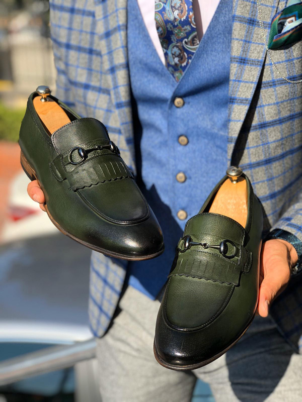Green Kilt Loafer by Gentwith.com with Free Shipping
