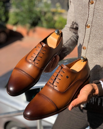 Tan Laced Cap Toe Oxford by Gentwith.com with Free Shipping