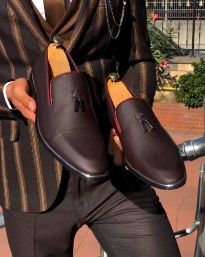 Burgundy Tassel Loafer by Gentwith.com with Free Shipping