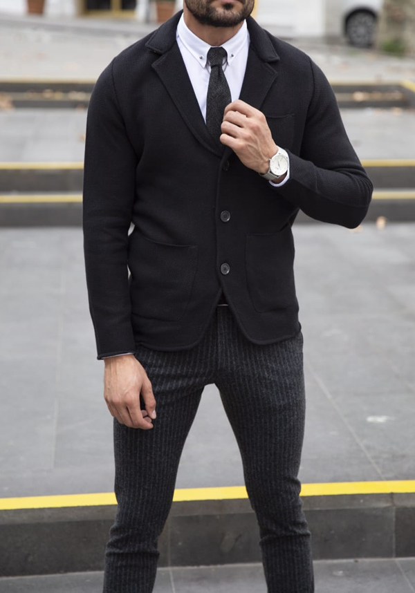 Black Slim Fit Cardigan by GentWith.com with Free Shipping Worldwide