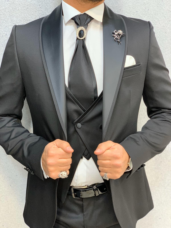 Black Slim Fit Groom Suit by Gentwith.com with Free Shipping
