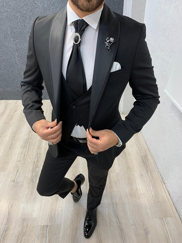 Black Slim Fit Shawl Collar Groom Suit by Gentwith.com with Free Shipping