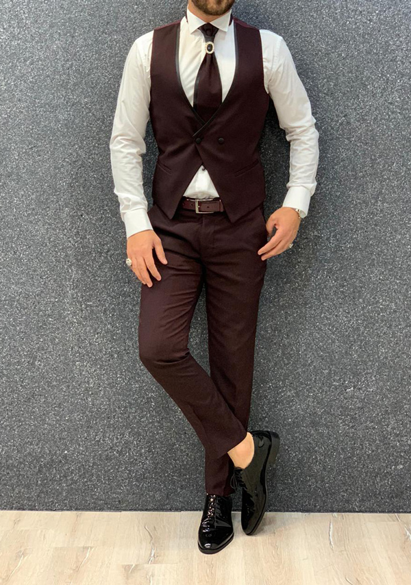Claret Red Slim Fit Shawl Collar Groom Suit by Gentwith.com with Free Shipping