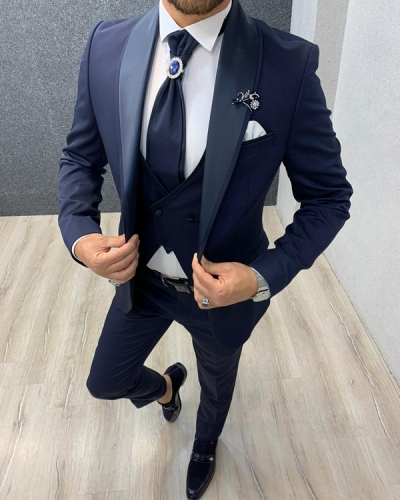 Navy Blue Slim Fit Shawl Collar Groom Suit by Gentwith.com with Free Shipping