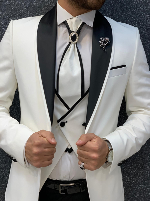 White Slim Fit Shawl Collar Groom Suit by Gentwith.com with Free Shipping