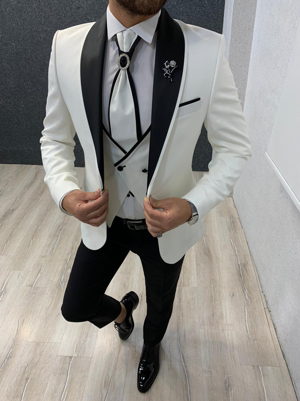 White Slim Fit Shawl Collar Groom Tuxedo by Gentwith.com with Free Shipping