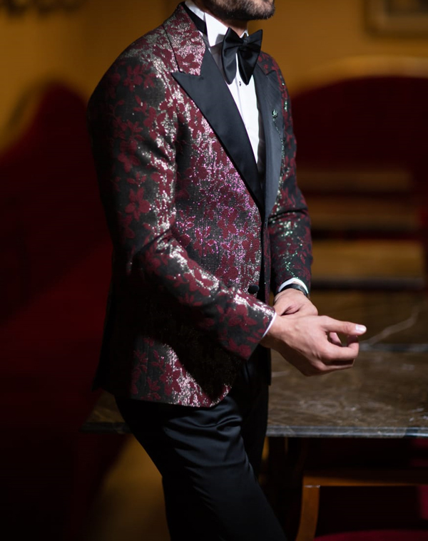 Burgundy Slim Fit Peak Lapel Tuxedo by GentWith.com with Free Shipping Worldwide