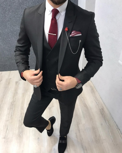 Black Slim Fit Wool Suit by GentWith.com with Free Shipping Worldwide
