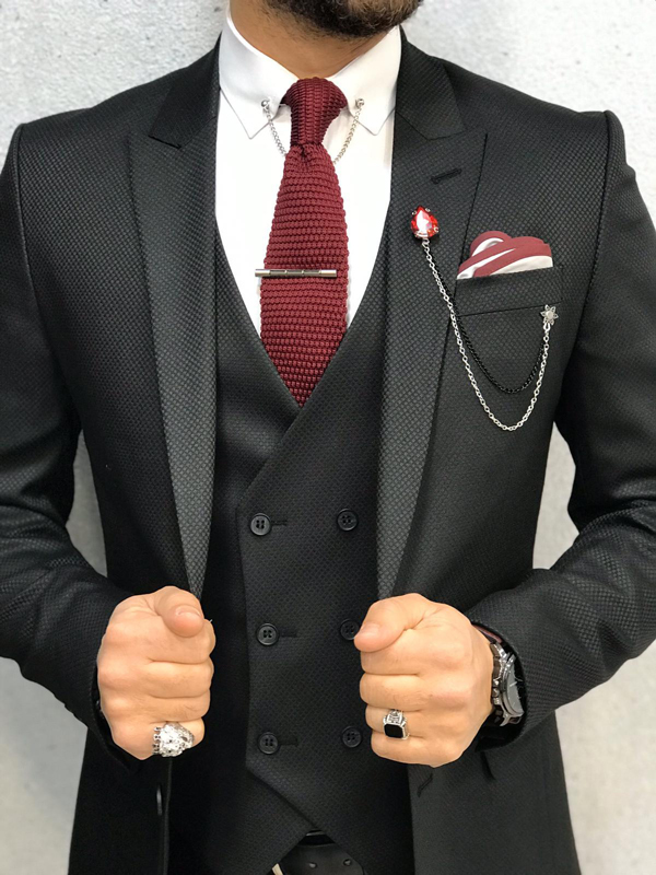 Black Wool Suit by GentWith.com with Free Shipping Worldwide