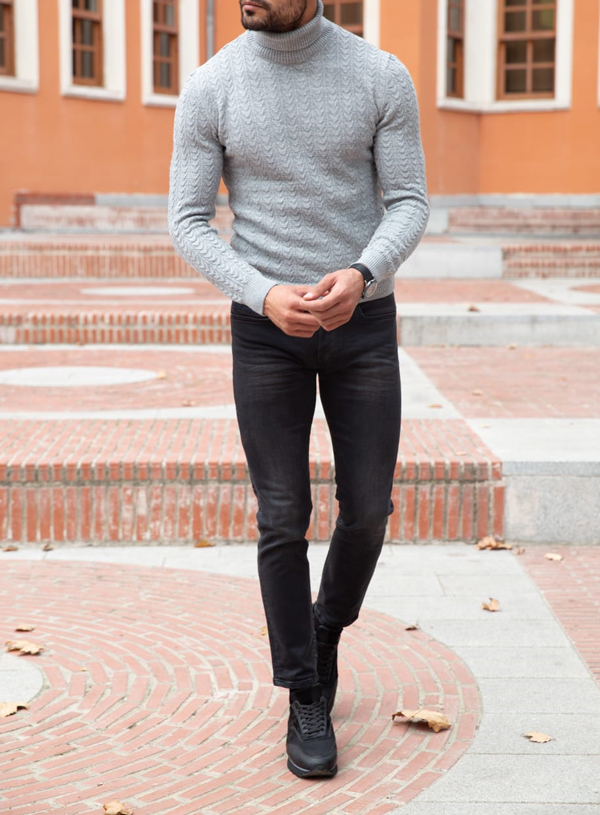 Slim Fit Gray Turtleneck Sweater by GentWith.com with Free Shipping Worldwide