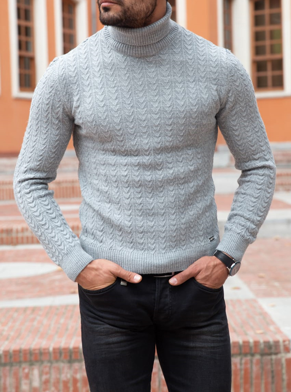 Gray Slim Fit Turtleneck Sweater by GentWith.com with Free Shipping Worldwide