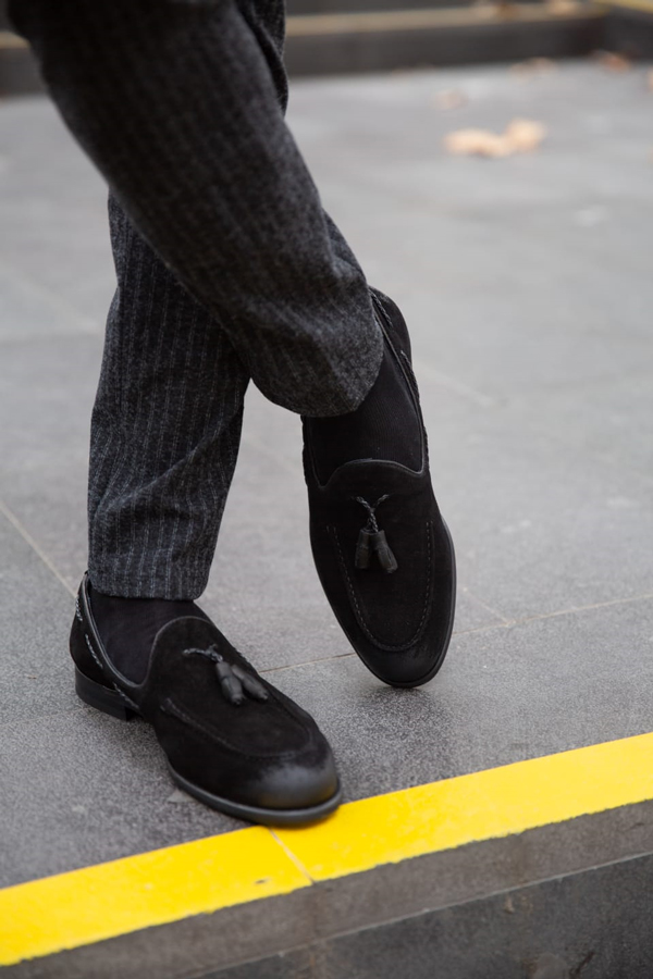 Black Suede Tassel Loafer by GentWith.com with Free Shipping Worldwide