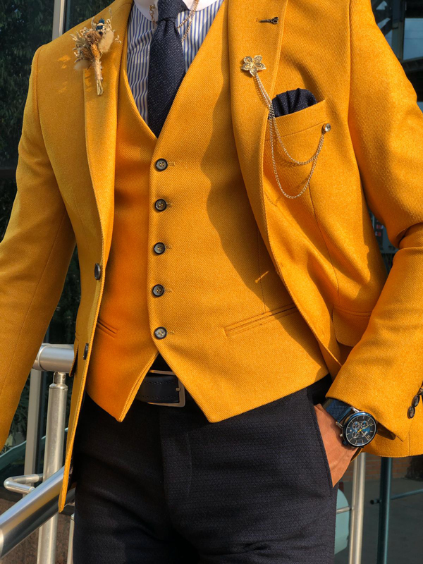 Slim Fit Yellow Suit by GentWith.com with Free Shipping Worldwide
