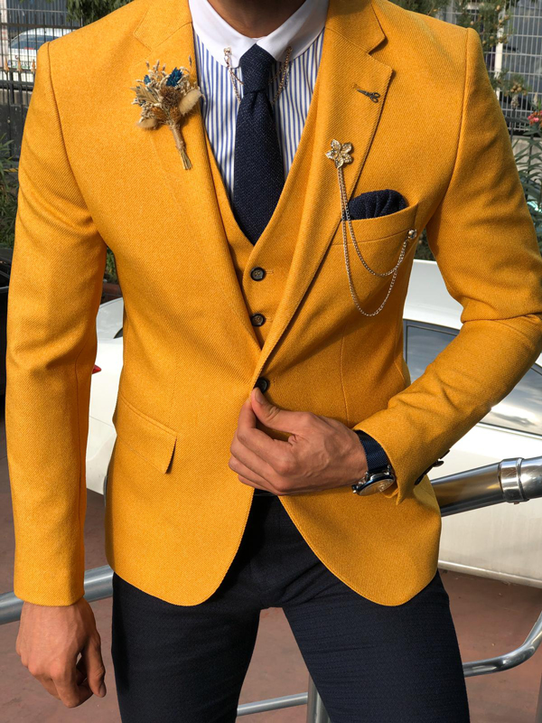 Yellow Slim Fit Suit by GentWith.com with Free Shipping Worldwide
