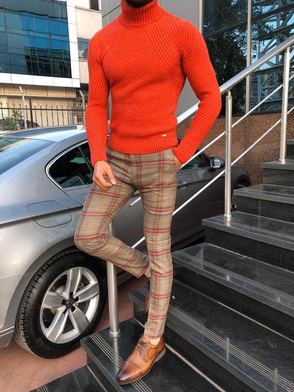 Orange Slim Fit Turtleneck Sweater by GentWith.com with Free Shipping