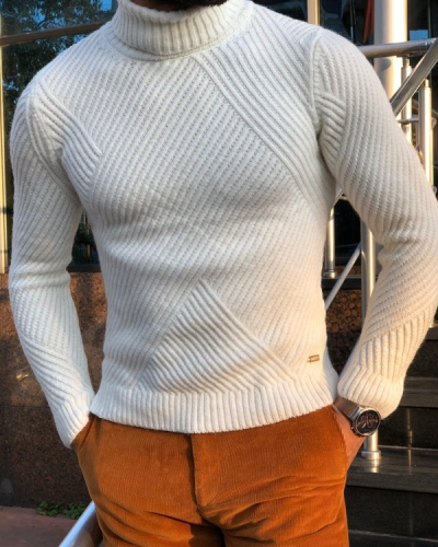 White Slim Fit Turtleneck Sweater by GentWith.com with Free Shipping