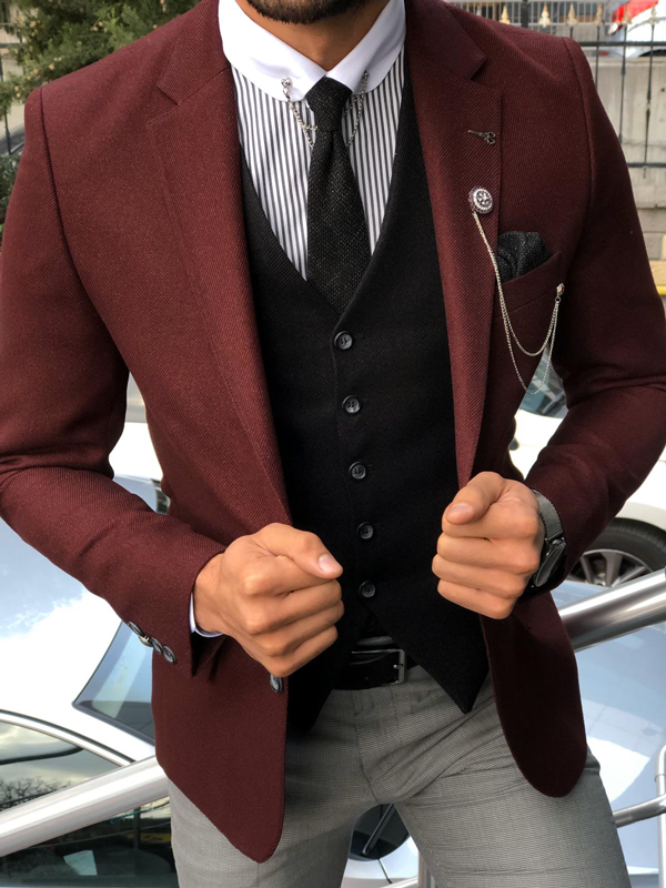 Burgundy Slim Fit Suit by GentWith.com with Free Shipping Worldwide