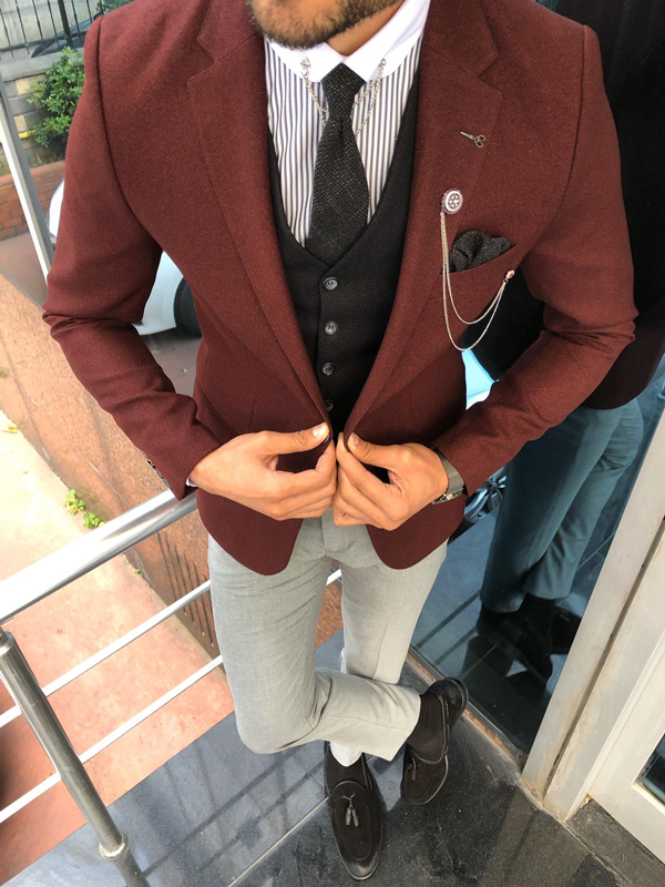 Slim Fit Burgundy Suit by GentWith.com with Free Shipping Worldwide