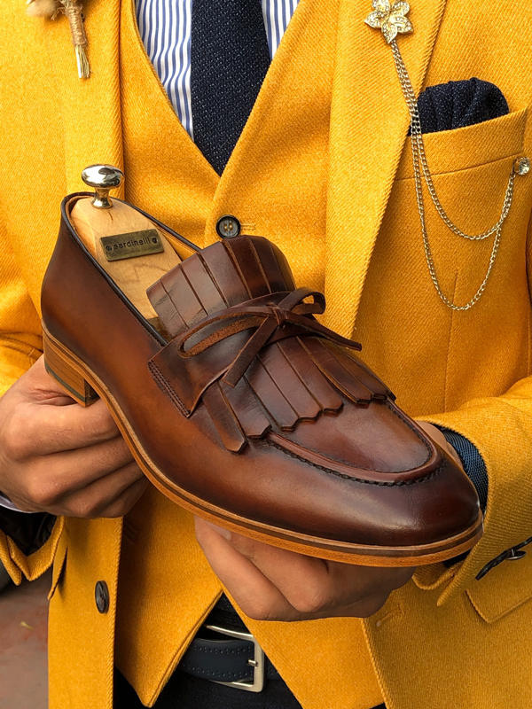 Brown Leather Kilt Loafer by GentWith.com with Free Shipping Worldwide