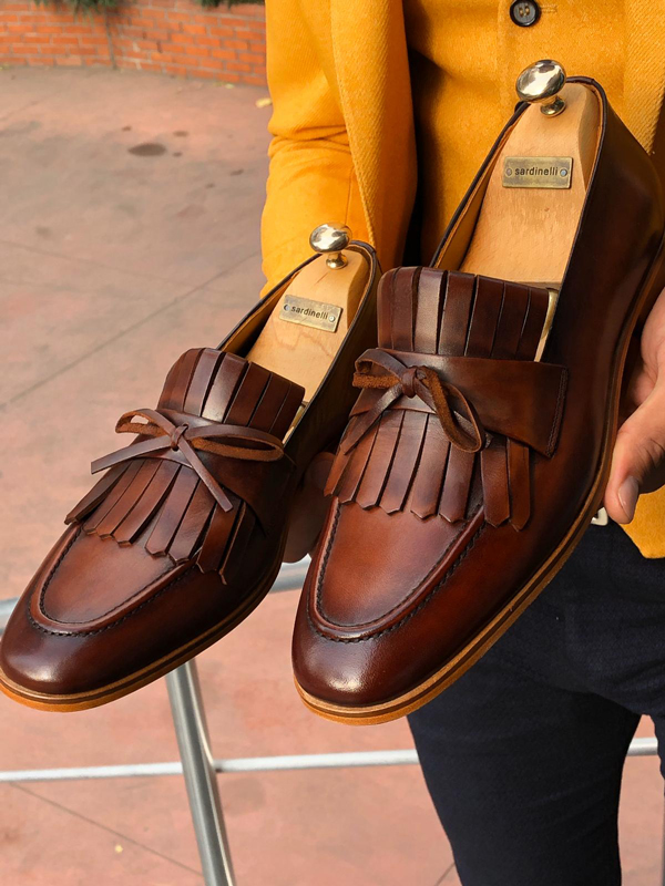 Brown Kilt Leather Loafer by GentWith.com with Free Shipping Worldwide
