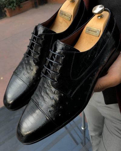 Black Laced Leather Oxford by GentWith.com with Free Shipping Worldwide