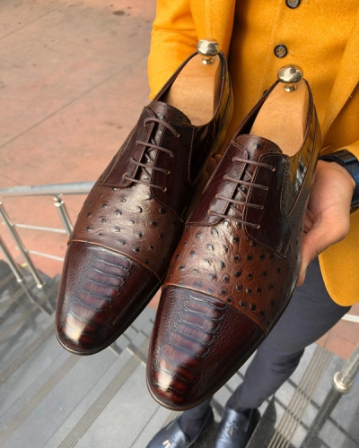 Brown Leather Oxford by GentWith.com with Free Shipping Worldwide